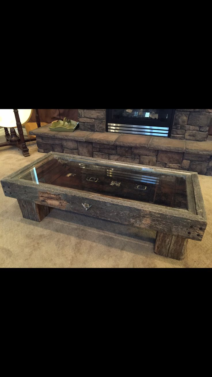 Old Ford truck tailgate coffee table made with Barnwood