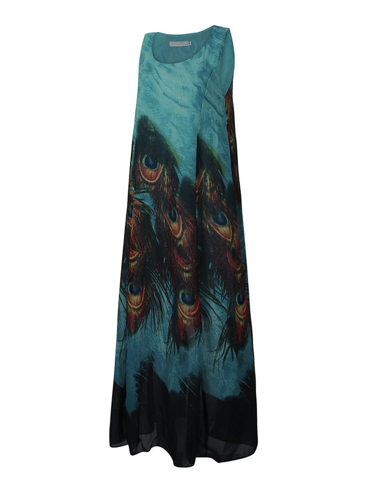 Gracila Bohemian Women Sleeveless O Neck Peacock Printed Maxi Dress