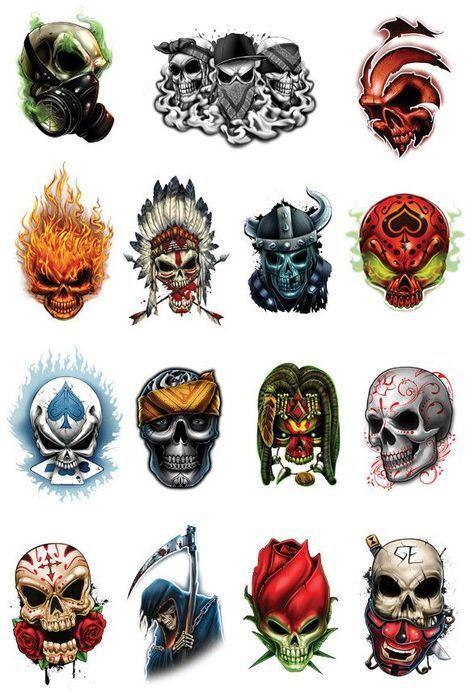 Skull Mix Temporary Tattoo Set