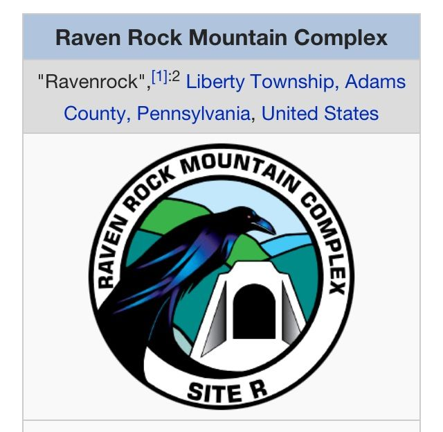"The Raven Rock Mountain Complex (RRMC) is a military installation with an underground nuclear bunker near Blue Ridge Summit, Pennsylvania, at Raven Rock Mountain that serves as an ""underground Pentagon"""