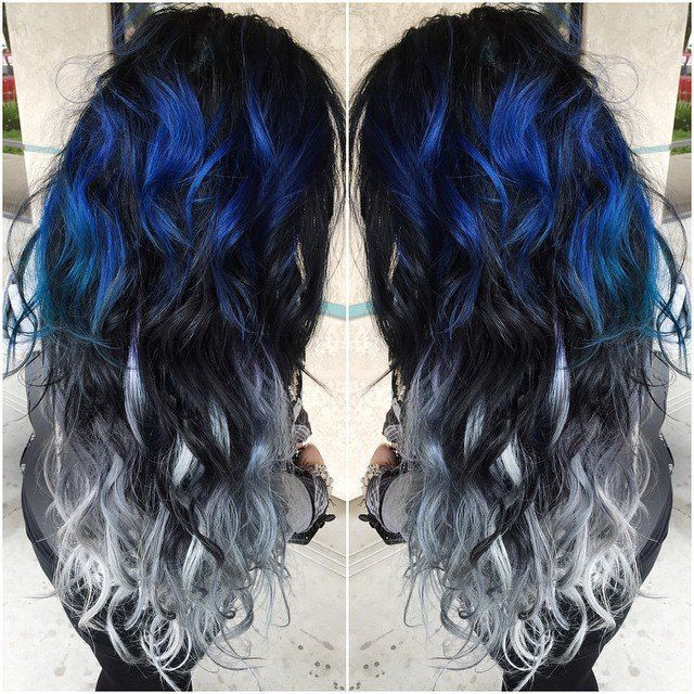Blue and Silver Ombre Hair Color Extensions for Black hair girl~ Amazing new look~ Vpfashion new hair style come~