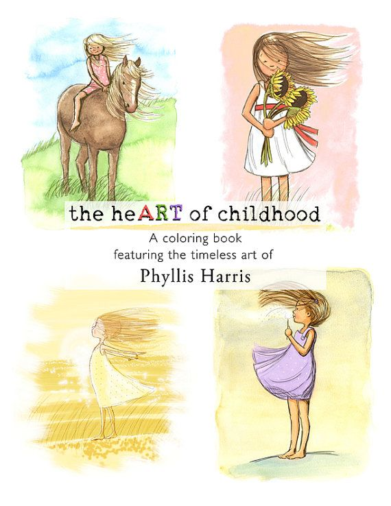 Coloring book for adults and children -  FREE domestic shipping - the heART of childhood by Phyllis Harris
