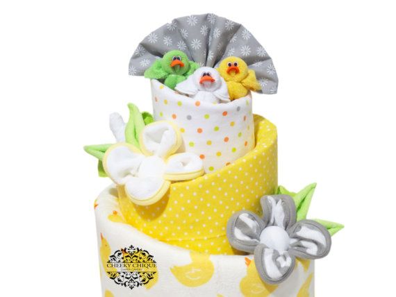 Little Quackers Topsy Turvy Diaper Cake, Rubber Ducky Baby Shower Centerpiece by Cheeky Chique Baby Diaper Cakery