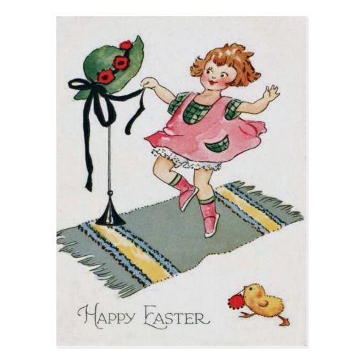Fille dansant la couverture de poussin de Pâques Carte Postale