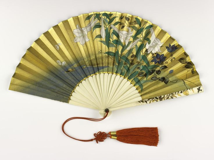 Folding fan painted on one side with flowers by a stream and on the other with an ink landscape, with ivory sticks and ivory guards decorated with gold lacquer. Japan, 19th century.