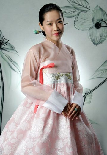 Light Pink Modern Hanbok. I like the chiffon jeoguri. And the close details on the chima, like the flowers all along the skirt and the contrast from the bust.