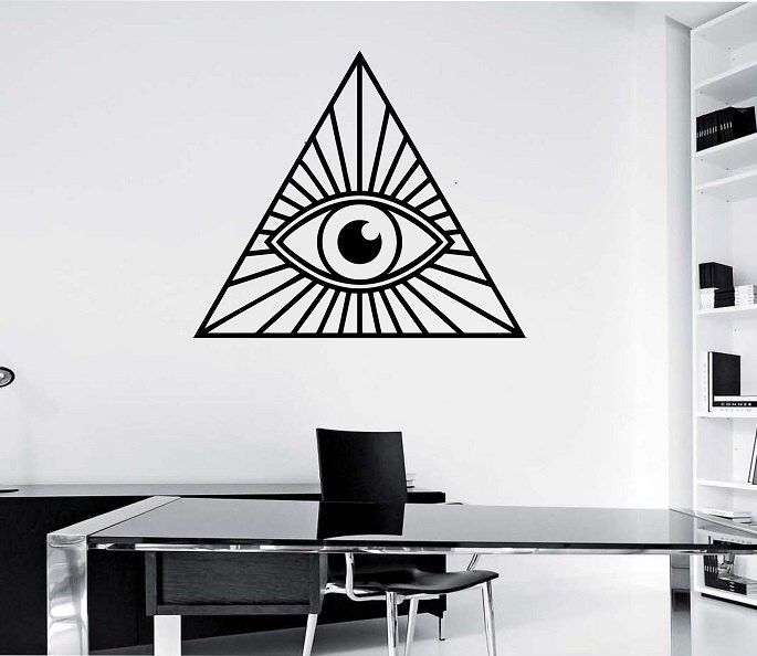 Illuminati Pyramid Eye Geometry Vinyl Wall Decal Sticker Art Decor Bedroom Design Mural interior design geometric real eys oom decor by StateOfTheWall on Etsy https://www.etsy.com/listing/222349578/illuminati-pyramid-eye-geometry-vinyl