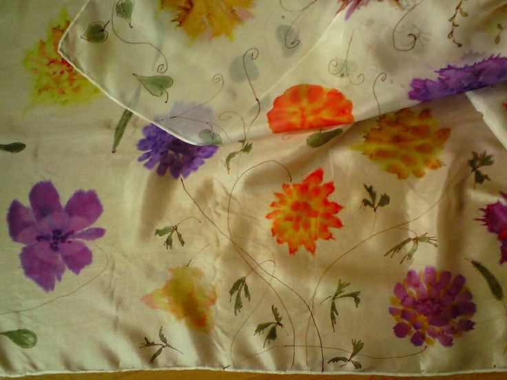 silk scarf with flowers #silkpainting