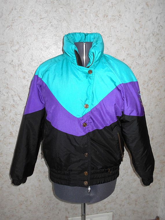 Vintage 90s Fera Color Block Ski Jacket 1990s Retro Winter coat Teal Purple  Black Embroidered Sleeves Zippered Front Hip Hop Womens Large d1ad88c1a
