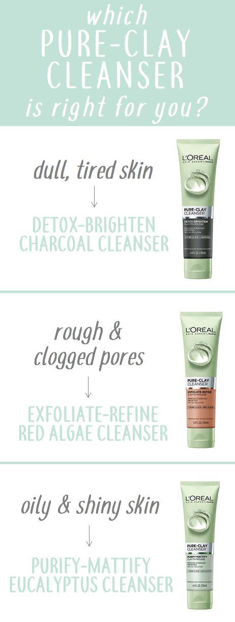 Neue L'Oreal Paris Pure-Clay Gesichtsreiniger. Mit Holzkohle für stumpfe, müde Haut; rote Algen für raue & verstopfte Haut; und Eukalyptus für fettige und glänzende Haut.