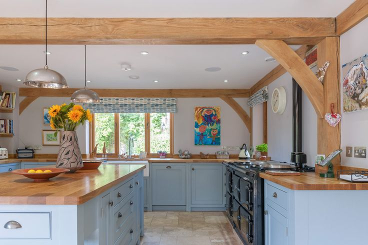 Gallery | Welsh Oak Frame    Beautifully elegant post and beam kitchen.  #welshoakframe #postandbeam #kitchen #oak #elegant #frame