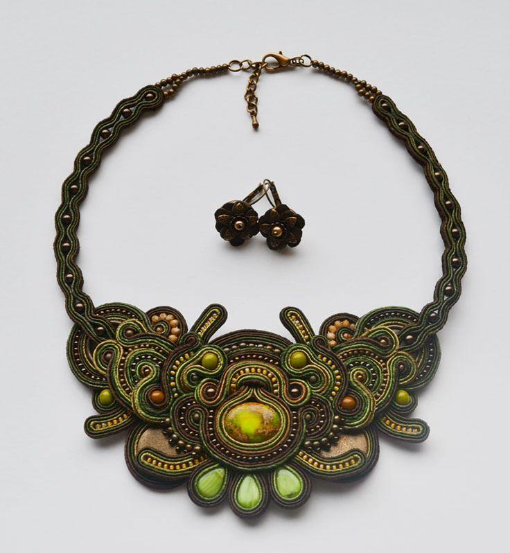 "Customer happy, me happy :) #safari#khaki#brown#green#soutache#necklace#handmade""handicraft#estonia""cyehted"