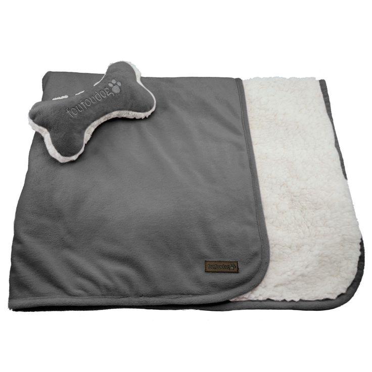 Dog Blanket - foufoudog Luxe Sherpa Dog Blanket Set in Grey
