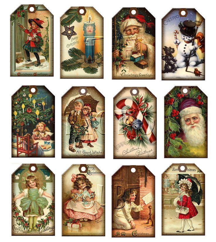 Vintage Printable Christmas Tags   Christmas Vintage ArT Hang/Gift Tags Santa Claus by thephotocube