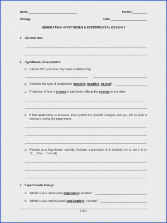 Experimental Design Worksheets Answers Biology Worksheet Worksheet Template Worksheets