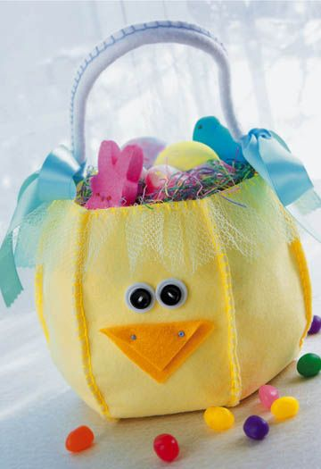 crafts-n-things-felt-chick-basket, I'm making this for my baby for Easter egg hunting!