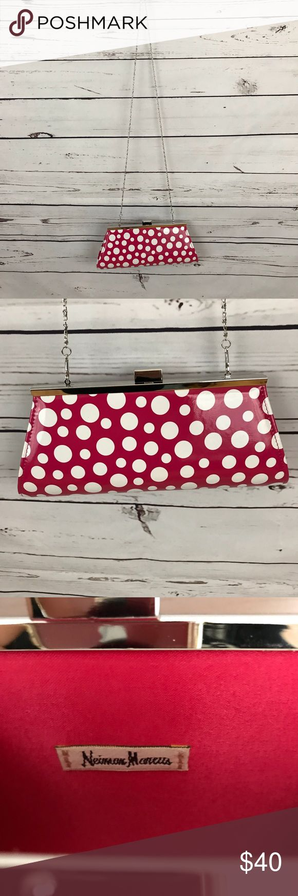 "Vintage Shoulder Bag Super cute polka dot bag! Chain strap can be removed and bag can be carried as a clutch. Strap 23"" from shoulder to bag. Bag: 8 1/2"" top, 11"" bottom. Neiman Marcus Bags Shoulder Bags"