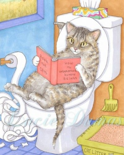 Funny Cat 8x10 Art print from painting by Lucie Dumas on ArtFire