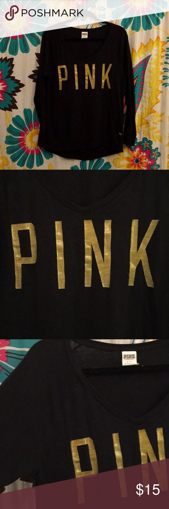 VS PINK Long Sleeve V-Neck Tee VS PINK long sleeve v-neck t-shirt. Black with yellow-gold lettering. Slouchy, oversized fit. Good condition. Some fuzzies and hairs stuck to it and some minor pilling throughout. No stains or holes. Make an offer! 😊 PINK Victoria's Secret Tops Tees - Long Sleeve