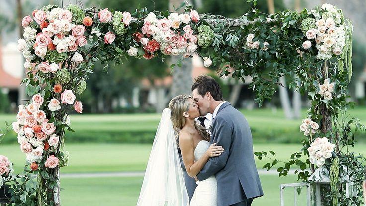 A beautiful bride and groom with an incredible story. Cute wedding video! Wedding | wedding video | palm springs wedding | floral arch | wedding film - www.618studios.net