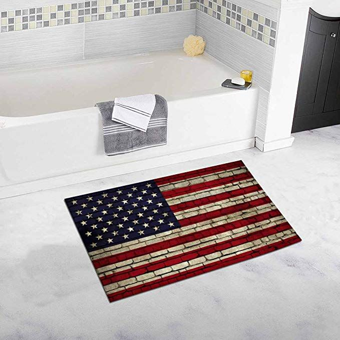 Interestprint American Flag On The Wall Bath Rug Non Slip Bathroom