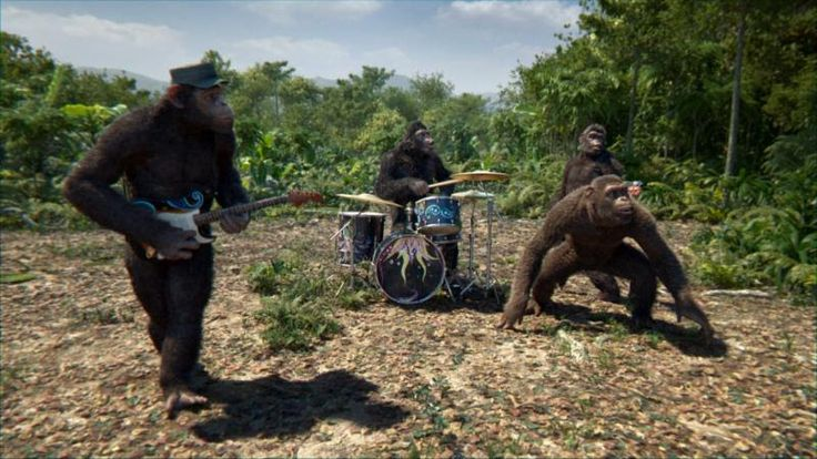 """Coldplay's new single """"Adventure of a Lifetime"""" just got an strange newvideo starring the London foursome as a band of primates banging out the song in a be..."""