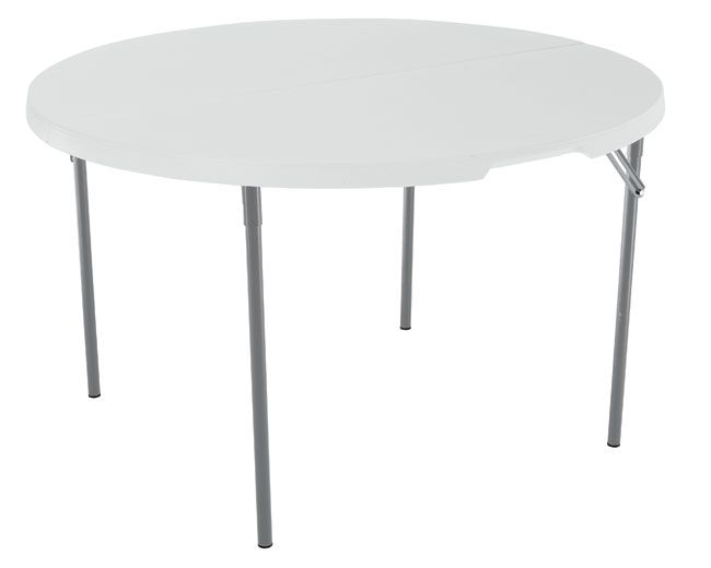 Lifetime Round Tables - 280064 48-inch White Granite Fold-in-Half Table