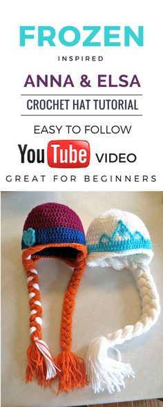 Easy Frozen Inspired Anna & Elsa Crochet Hat Tutorial in memory of Brylee Olson. Free Pattern. Step by step.                                                                                                                                                                                 Más