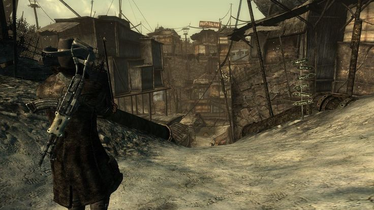 Fallout 3's megaton town closely resembles what i want for my level but with less destruction and abit more alive as a town
