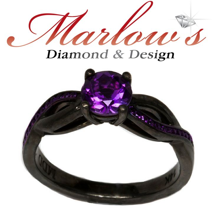 A unique piece for a unique lady, this Amethyst set contemporary engagement ring is dipped in black rhodium to create the ultimate contrast!