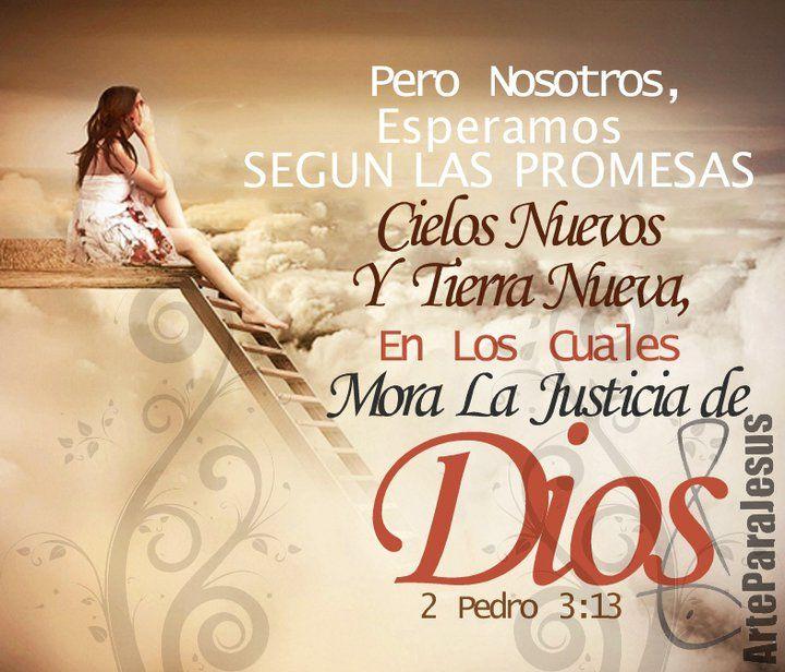 2 Pedro 3:13 Pero nosotros esperamos, según sus promesas, cielos nuevos y tierra nueva, en los cuales mora la justicia. ♔