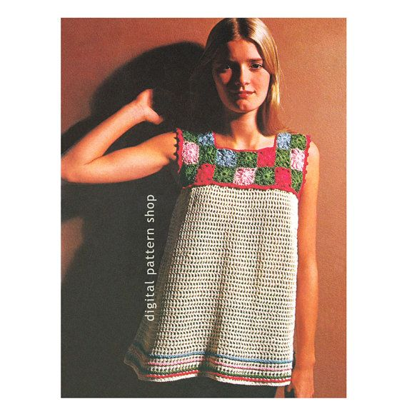 1970s Vintage Smock Top Crochet Pattern: Smock top has a yoke made of small granny squares forming a square neckline and a mesh body trimmed with matching stripes at the lower edge. Picot edge trims the sleeveless armholes.  Size: 8-10, (12-14), (16) (Bust 31.5 to 38 inches)  Materials: J. & P. Coats Knit-Cro-Sheen, 7 (8, 9) (250-yard) balls of Ecru & Coats & Clarks O.N.T. Pearl Cotton: 6 balls of Hunters Green, 5 balls of Watermelon and 2 balls each of Blue and Beauty Pink. Crochet Hook…