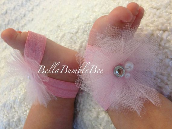 Light Pink Baby Barefoot Tulle Flower Sandals for Newborn Infant or Toddler Girls, Shabby Booties, Bottomless Sandles Shoes by BellaBumbleBee, $10.95