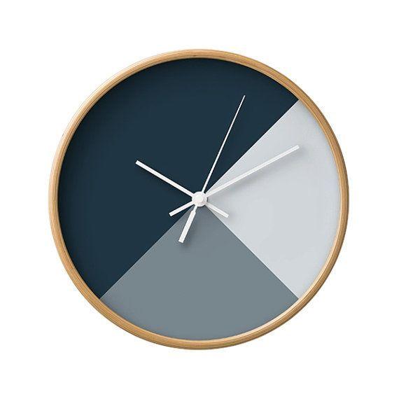 Gemischt Geometrische Tne Wanduhr 5 Kalte Von LaChicHomeDecor FarbenHolz UhrGeometrische MusterWohnungenDunkelBlauSonstigesWohnzimmerWanduhren