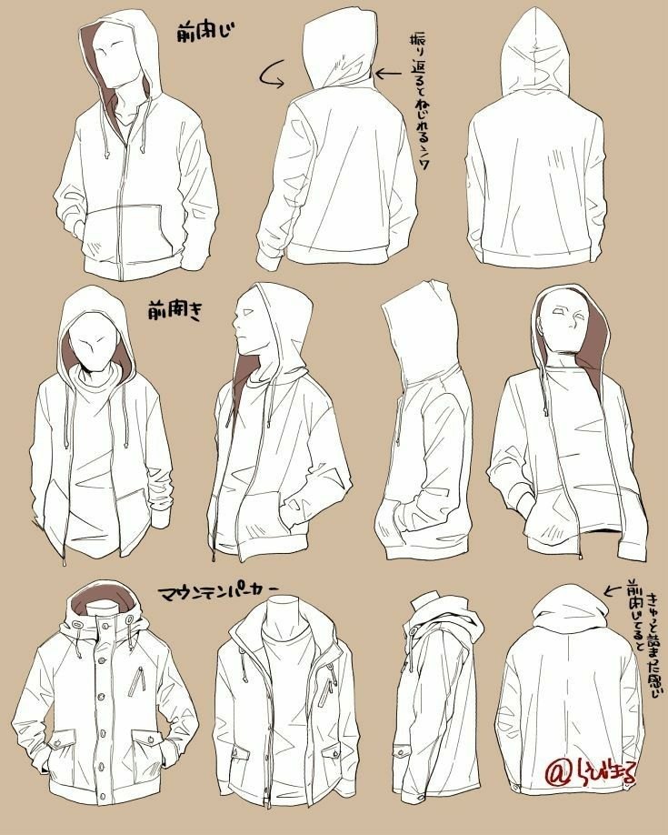 Coat Jacket Hoodie Sweatshirt Reference Clothes Male Drawing Wrinkles Sketches Art Reference Poses