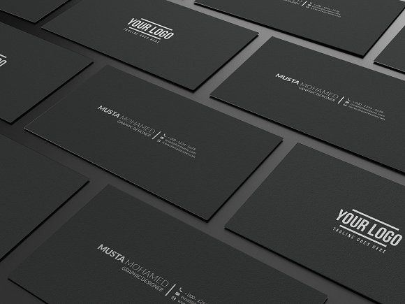 Clean Black Minimal Business Card by MustaART on @creativemarket