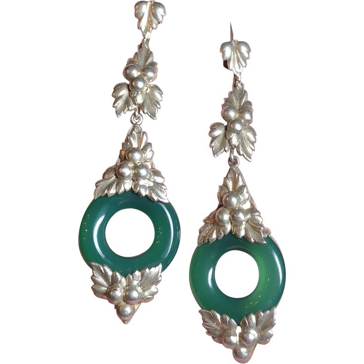 Vintage German Art Deco Leaf & Berry Design Sterling Silver Chrysoprase Dangle Screw Back Earrings Germany