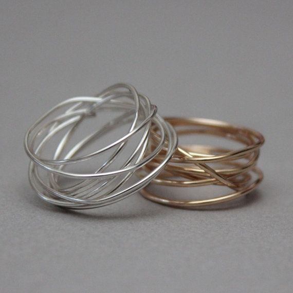 Sterling Silver Spiral Wrap Ring Sterling Silver Cocktail by boubo