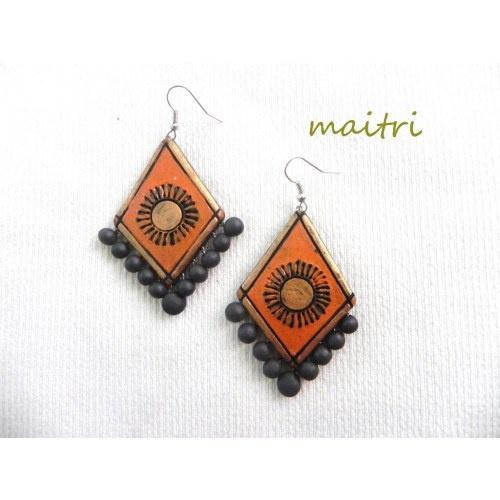 Terracotta Earrings_Pyramid Orange