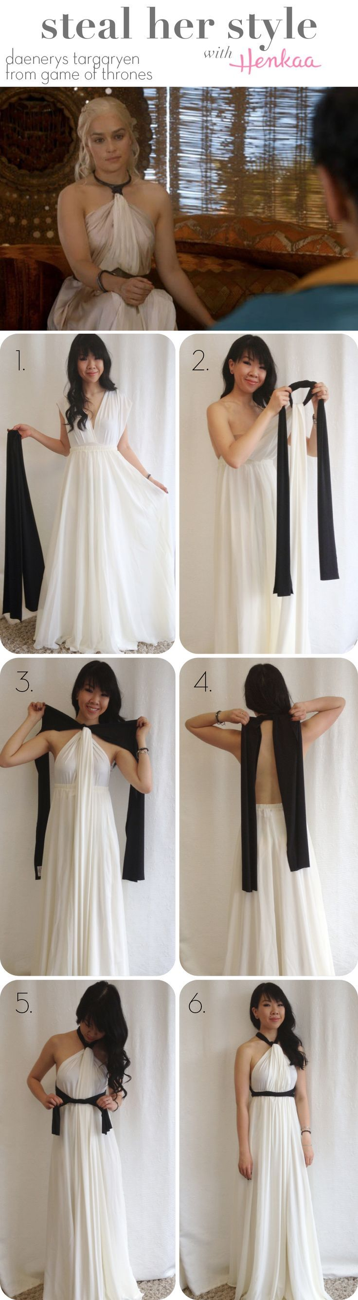 Steal Daenerys Targaryen's (from Game of Thrones) Style with a convertible dress & sash!