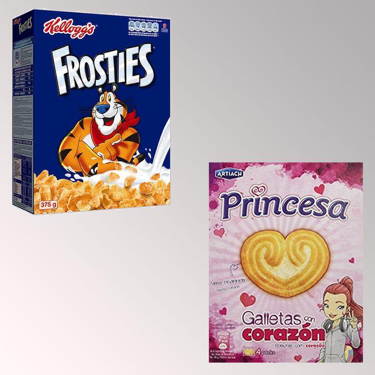 En el packaging de las galletas y cereales pasa lo mismo que en el de los juguetes.  En el de arriba, la caja es azul, con letras muy rectas y con un tigre musculoso. Evoca fuerza y aventuras.  En la de abajo, la caja es rosa, con letras redondas, con una chica y muchos corazones. Evoca el amor y la belleza.