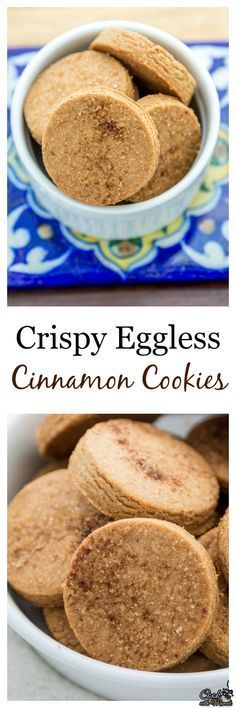 Crispy Cinnamon Cookies- whole wheat cookies, lightly sweetened and flavored with cinnamon & nutmeg. Great for tea time! #cookies #eggless #baking