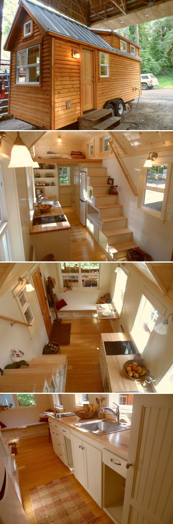 This customized 22' Ynez tiny house features tansu storage stairs with maple treads, bamboo flooring, and bead board wall paneling.