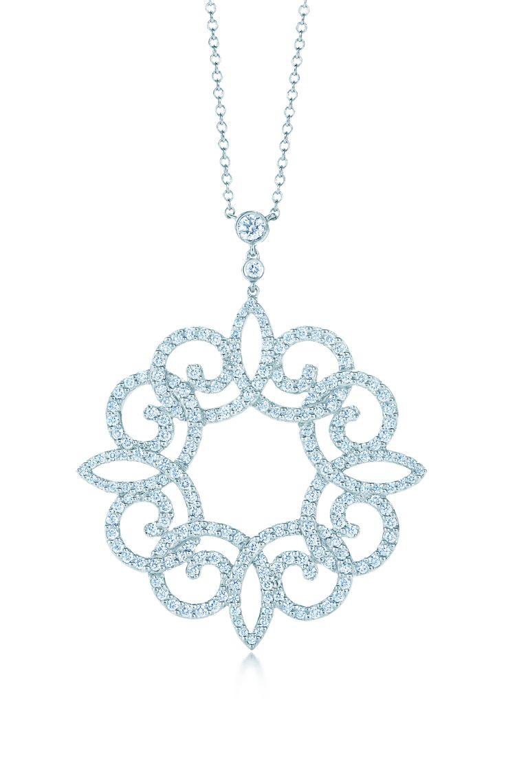 Tiffany Enchant® scroll pendant with diamonds in platinum. #wedding #jewelry