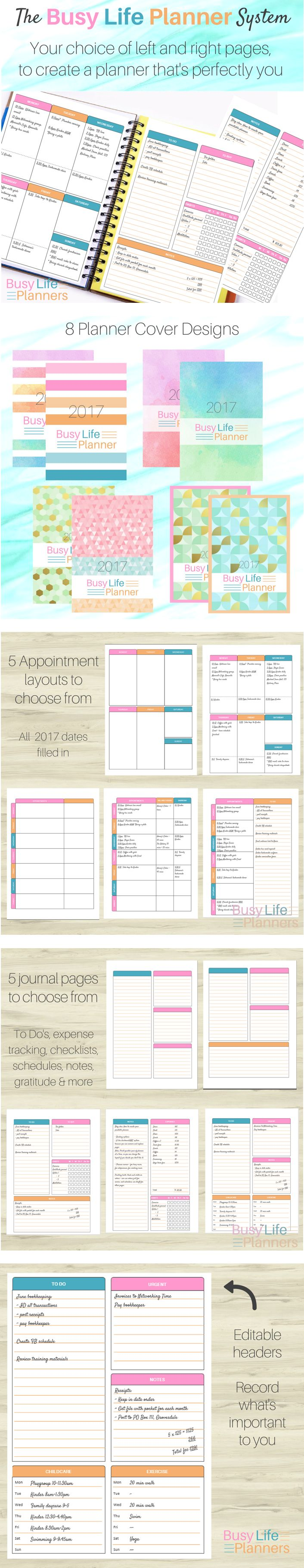 Here's a great idea - a 2017 printable weekly planner that has a whole choice of layouts, and editable headers. So you can customize it just the way you want it. By Busy Life Planners