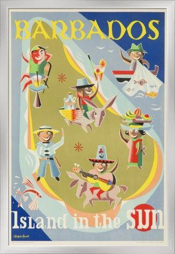 Barbados Island in the Sun Caribbean Sea Vintage Travel Art Poster Advertisement