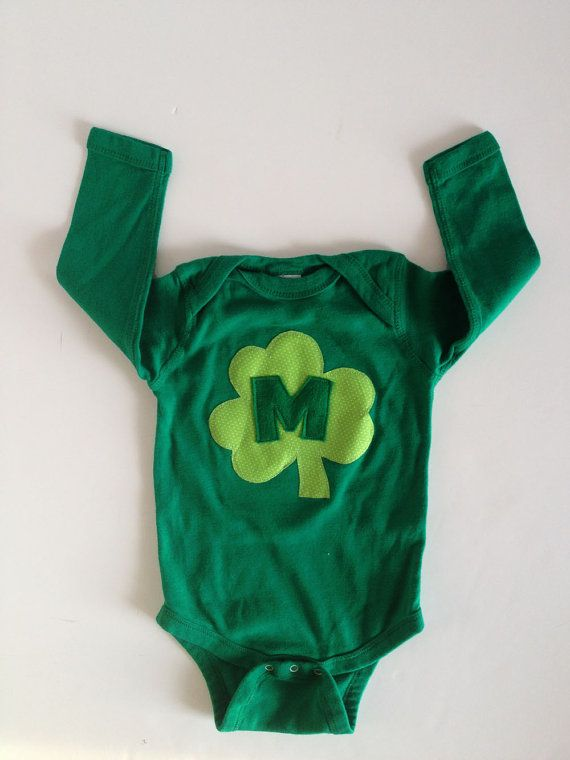 Lookin at you NW side...... St. Patrick's Day Shamrock Initial Green One PIece by kakabaka, $18.00