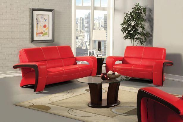Interior Furniture Decoration Modern Red Leather Sofa Couch Love