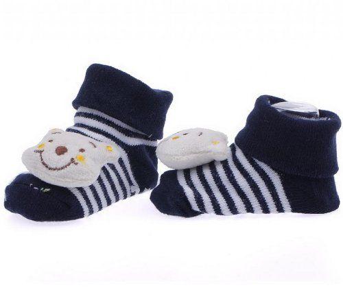 EOZY Diseño De Sonrisa De Oso Tejido Jacquard Antideslizante Botas Botines Calcetines Para Bebé Algodón Color Crema