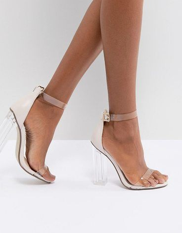 Clear Block Heeled Sandal by MISSGUIDED. Sandals by Missguided, Ankle-strap  fastening,